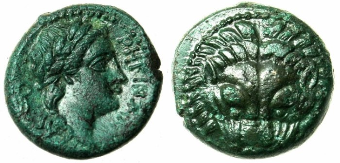 Ancient Coins - BRUTTIUM.RHEGION.Circa 350-270 BC.AE.19.Lions Mask Rev.Apollo.
