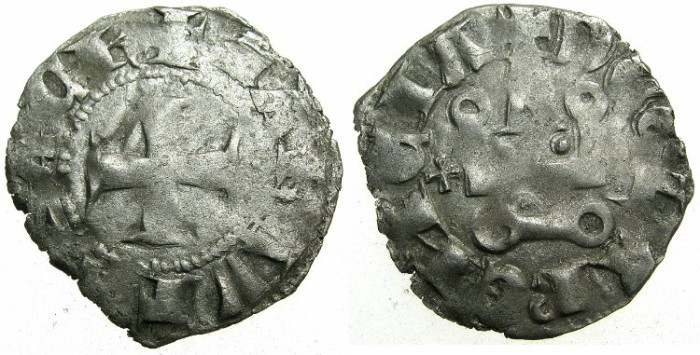 World Coins - CRUSADER.GREECE.ACHAIA.Matilda of Hainault AD 1316-1321.Billon Denier.Cross left of Chatel~~~Extremely rare.
