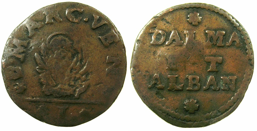 World Coins - ITALY.VENICE for DALMATIA AND ALBANIA.Anonymous.AE.Soldo.Issued 1626, 1684 and 1691.