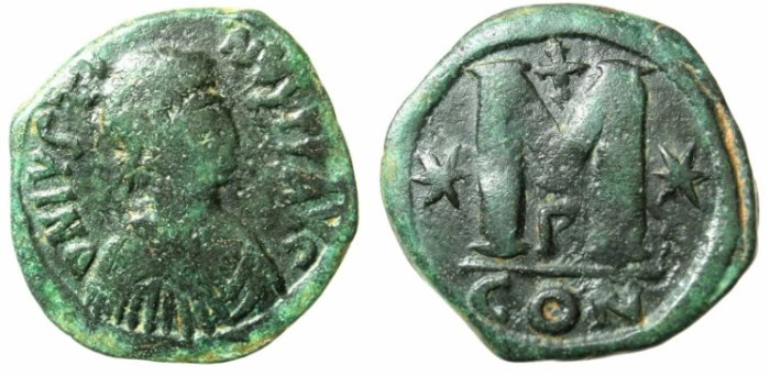 Ancient Coins - BYZANTINE EMPIRE.Justin I AD 518-527.AE.Follis.Constantinople mint.