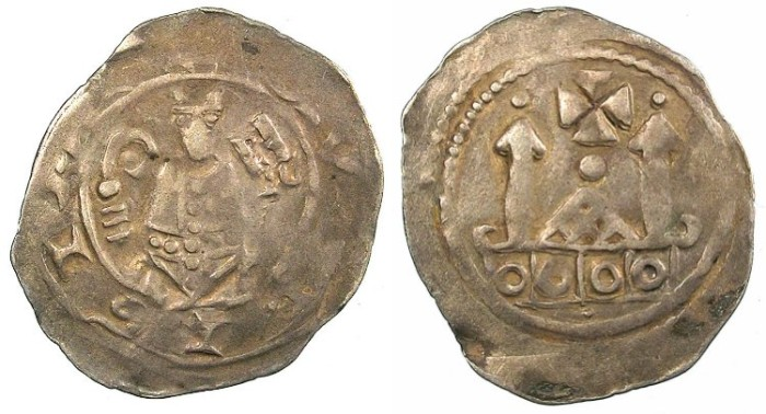 Ancient Coins - ITALY.AQVILEIA.Pellegrino II AD 1195-1204.AR.Denaro ' con lettre'