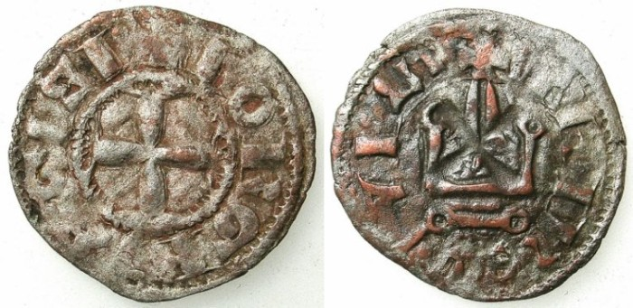 Ancient Coins - LORDSHIP OF TINOS AND MYKONOS.George I Ghizi 1303-1311.Bi.Denier.