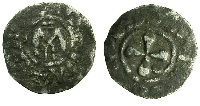Ancient Coins - CRUSADER.1st crusade:preferred coinage.Anonymous.Bishops of VALENCE.12th cent.AD.Bi.Denier.Type A?