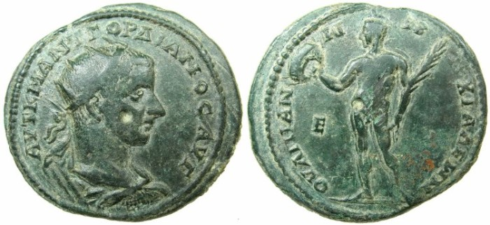 Ancient Coins - THRACE.ANCHIALUS.Gordian III AD 238-244.AE.5 Assaria.~#~.Warrior or Athlete standing holding crown and palm branch.****VERY RARE ISSUE ****