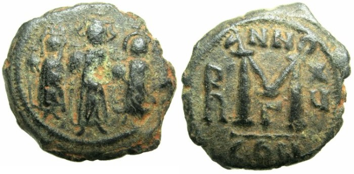 Ancient Coins - BYZANTINE EMPIRE.Heraclius AD 610-641.AE.Follis, struck AD 624/25.Mint of CONSTANTINOPLE.