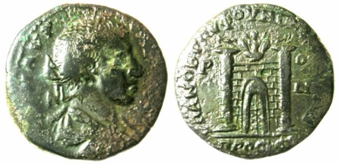 Ancient Coins - MOESIA INFERIOR.NIKOPOLIS AD ISTRUM.Elagabalus AD 218-222.AE.25.City gate with two towers.