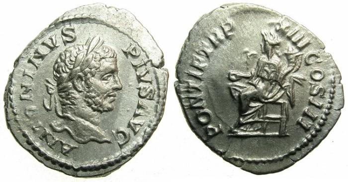 Ancient Coins - ROMAN.Caracalla Augustus AD 209-211.AR.Denarius AD 210.~#~Concordia seated.