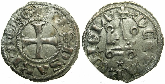 Ancient Coins - CRUSADER STATES.GREECE.Principality of Achaia.Philip ofSavoy AD 1301-1307.Bi.DeniertTypre PS1.Mint of CORINTH.