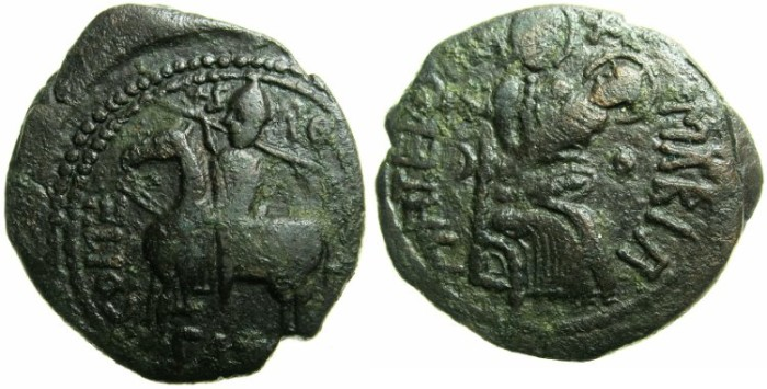 Ancient Coins - CALABRIA AND SICILY.Roger I AD 1071-1102.AE.Follaro.Mint of MILETO.~~~Roger on horse.~#~Virgin and christ-child.