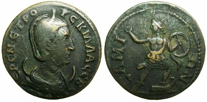 Ancient Coins - IONIA.Island of SAMOS.Herennia Etruscilla, wife of Trajan Decius AD 249-251.AE.30~~~Warrior with round shild.