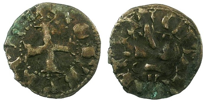 Ancient Coins - CRUSADER.ACHAIA.Robert of Anjou-Tarente 1346-1364.Bi.Denier.