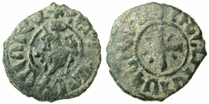 Ancient Coins - ARMENIA.Hetoum I AD 1226-1270.AE.Kardez.Mint of Sis.King enthroned / Cross