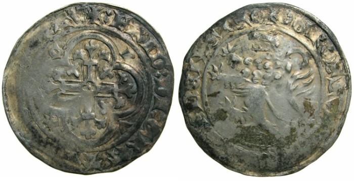 Ancient Coins - GERMANY.MEISSEN.Freidrich II The Serious Margrave of Meissen and Thuringen AD 1323-1349.AR.Miessen Groschen.