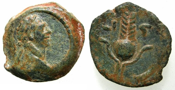 Ancient Coins - EGYPT.ALEXANDRIA.Trajan AD 98-117.unepigraphic issue.AE.Dichalkon, struck AD 112/116.~#~.Headdress of ISIS.