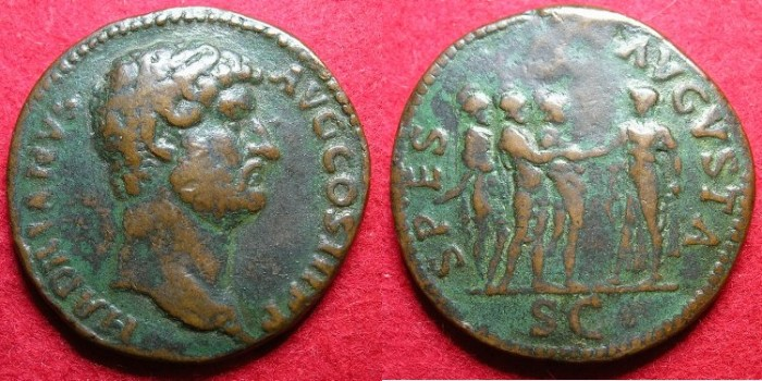 "Ancient Coins - ROMAN.""Paduan""medalion Sestertius after Hadrian ( AD 117-138 ).AE.Cast.late 19th cent AD."