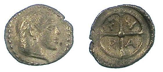 Ancient Coins - SICILY.Syracuse.c.480 BC.AR.Obol.Artemis-Aretusa / Wheel