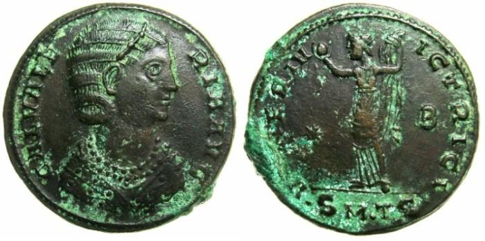 Ancient Coins - ROMAN.Galeria Valeria AD 293-311.AE.Follis.Struck AD 310/11.Mint of THESSALONIKA.~#~Venus holding apple.