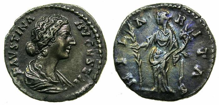 Ancient Coins - ROME.Faustina Junior, wife of Marcus Aurelius, Augusta AD 146 died AD 195.AR.Denarius.