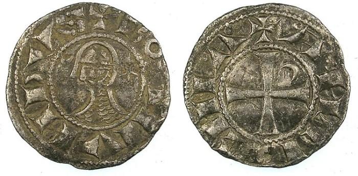 Ancient Coins - CRUSADER.Principality of Antioch.Bohemond III or IV c.1163-1233.Bi.Denier.class D