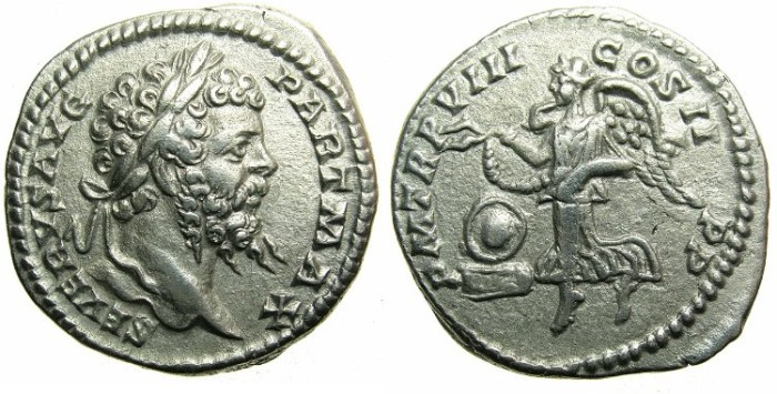Ancient Coins - ROMAN.Septimius Severus AD 193-211.AR Denarius.AD 200.~~~VICTORY.