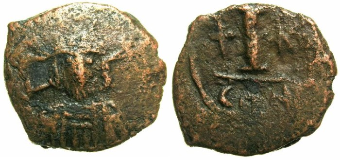 Ancient Coins - BYZANTINE EMPIRE.Constantine IV Pogonatus AD 668-685.AE.Decanummia.Mint of CONSTANTINOPLE.*****RARE*****