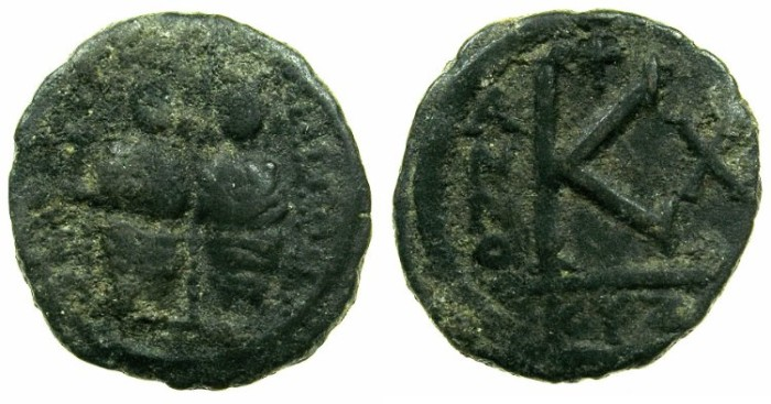 "Ancient Coins - BYZANTINE EMPIRE.Justin II AD 565-578.AE.1/2 Follis ""Moneta Militaris Imitativa""Mint of CYZICUS."