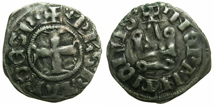 Ancient Coins - CRUSADE STATES.GREECE.Depotate of EPIRUS.Philip of Tarento AD 1294-1313.Billon Denier.Type 1d.