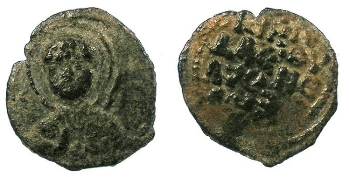 Ancient Coins - CRUSADER. Antioch.Tancred AD 1104-1112.AE.Follis.1st type.Facing bust of St.Peter.