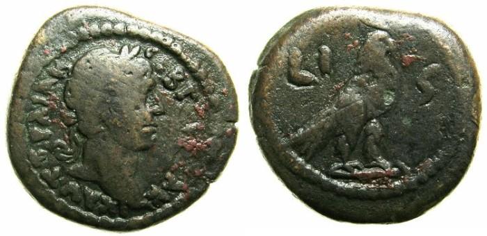 Ancient Coins - EGYPT.ALEXANDRIA.Trajan AD 98-112.AE.Obol.AD 112/113.~~~Hawk with SKHENT crown.