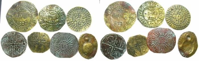 World Coins - CAPPADOCIA.KELVERI.St.Gregory Theologus church.AE.'Bracteate'Token SET of seven.