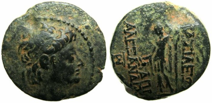 Ancient Coins - SYRIA.SELEUCID EMPIRE.Alexander II 128-123 BC.AE.20.Struck 129/8 BC.~~~Diademed Alexander.~#~Young Dionysos.