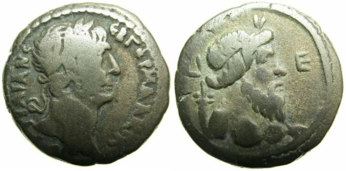 Ancient Coins - EGYPT.ALEXANDRIA.Trajan AD 98-117.Billon Tetradrachm.AD 111/12.~#~Bust of Nilus.