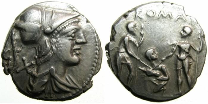 Ancient Coins - ROME.REPUBLIC.Ti.Veturius 137 BC.AR.Denarius.~~~Helmeted bust of MARS.Reverse.Oath-taking scene~~~interesting type.
