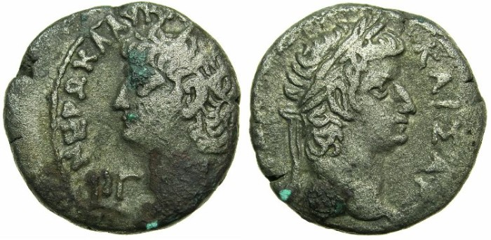 Ancient Coins - EGYPT.ALEXANDRIA. Nero AD 54-68 Bi.Tetradrachm. struck AD 66-67.~#~ laurate head of Tiberius