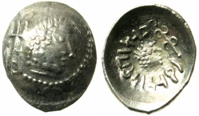 "Ancient Coins - ARABIA FELIX.Himyarites.'amdan Bayyin circa 50-150 AD.AR.Light half denarius.""Scyphate"""