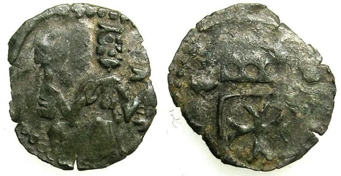 Ancient Coins - ROMANIA.Bant Severin.Nicolae Redwitz AD 1429-1435.Billon Denier(?).~~~standing figure of Nicolae.