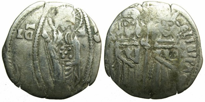 Ancient Coins - SERBIA.Stefan Uros IV Dusan as Emperor AD 1345-1355.AR.Dinar. ~~~Standing imperial figures.