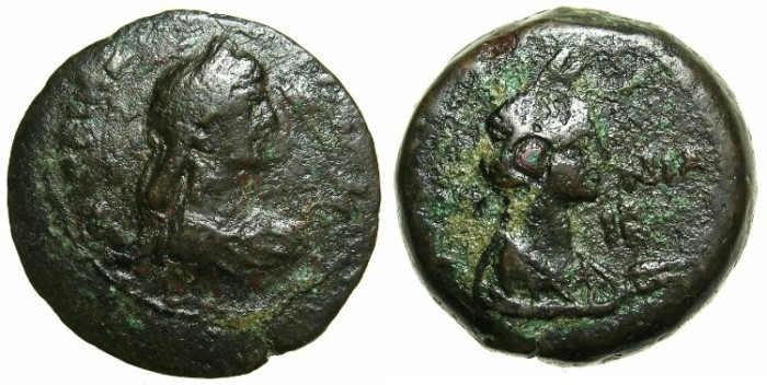 Ancient Coins - EGYPT.ALEXANDRIA.Agrippina AD 51-54; mother of Nero.AE.Diobol.~/~Euthenia.