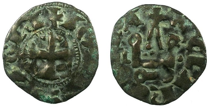 Ancient Coins - CRUSADER.Principality of ACHAIA.Jean of Anjou-Gravina 1318-1333.Bi.Denier.