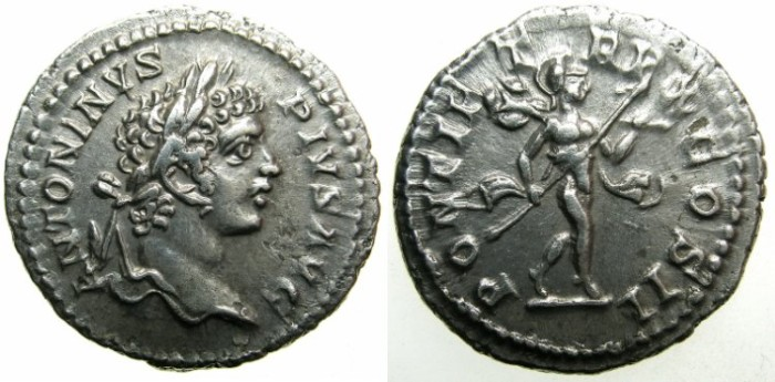Ancient Coins - ROMAN.Carcacalla Augustus AD 198-209.AR.Denarius AD 207.~~~Mars advancing.