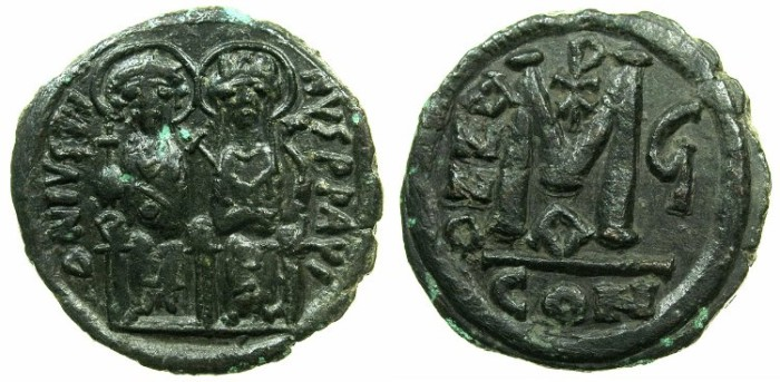 Ancient Coins - BYZANTINE EMPIRE.Justin II AD 565-578.AE.Follis,struck AD 570/571.Mint of CONSTANTINOPLE.