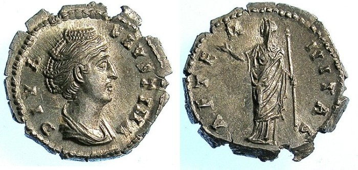 Ancient Coins - ROME.IMPERIAL.Faustina; wife of Antoninus Pius died AD 141.AR.Denarius.Juno