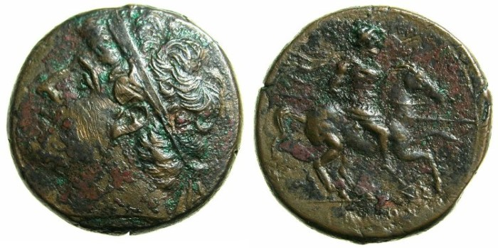 Ancient Coins - SICILY.SYRACUSE.Hieron II 275-216 BC.AE.26mm.~#~.Calveryman riding right