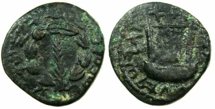 Ancient Coins - JUDAEA.Bar Kochba revolt 132-135 AD.AE.22mm.Year 1.~~~.Palm branch.~#~ stringed lyre