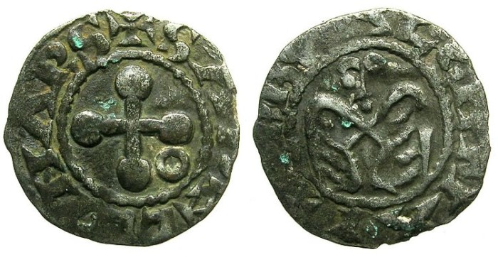 Ancient Coins - CRUSADER.1st crusade:preferred coinage.Anonymous.Bishops of VALENCE.12th cent.AD.Bi.Denier.