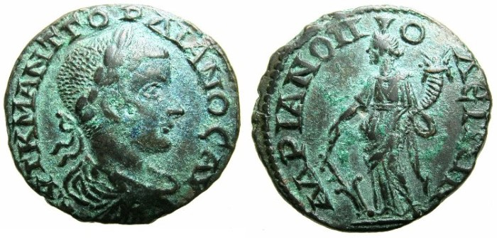 Ancient Coins - THRACE.HADRIANOPOLIS.Gordian III AD 238-244.AE.25.2mm.~#~.Tyche standing.