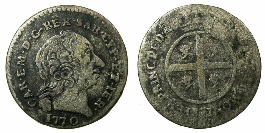 World Coins - ITALY.SARDINIA.Carlo Emanuele III 1730-1773.AR.Mezzo Reale nuovo 1770.Mint of TURIN.
