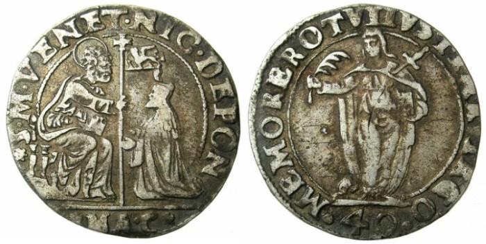Ancient Coins - ITALY.VENICE.Nicola da Ponte AD 1578-1585.AR.Quarto di Scudo.