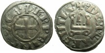 World Coins - CRUSADER STATES.GREECE.Principality of ACHAIA.Charles I or II of Anjou AD 1278-1285-1289.Bi.Denier.Type KA 101.Unpublished var.with PRINCI for PRINCE?