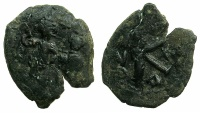 Ancient Coins - BYZANTINE EMPIRE.Heraclius AD 610-641.AE.Half Follis, struck AD 631/32. Mint of CONSTANTINOPLE.